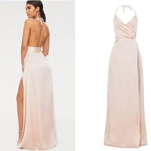 PrettyLittleThing Dresses - PLT Lucie Champagne Silky Extreme Split Dress 50d6fcc3a